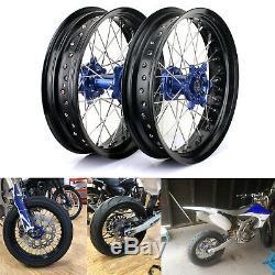 Supermoto Front Rear Wheels Hubs Rims Spokes Set for Yamaha YZ250F YZ450F 09-13