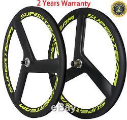 Superteam 56mm Road Bike Tri Spoke Wheelset Road Bike 3 Spokes Wheels Tri Wheels