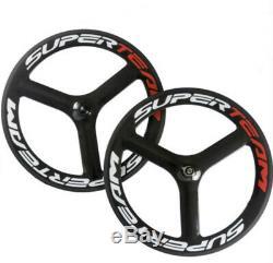 Superteam 700C Carbon Fiber Tri Spoke Wheelset Road Bike 3 spokes Carbon Wheels