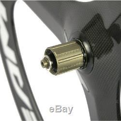 Superteam 70mm Carbon Fiber Tri Spoke Wheelset Road Bike 3 spoke Front&Rear set
