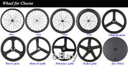 Superteam 70mm Carbon Fiber Tri Spoke Wheelset Road Bike 3 spokes Carbon Wheels