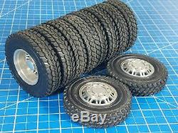 Tamiya 1/14 20-Spoke Aluminum Front 56512 & Rear 56513 Wheel Rim Terrain Tire