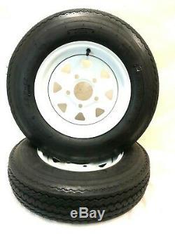 Two 5.30-12 Trailer Tires & Wheels 5 Lug Spoke White Wheels 5.30x12 6 Ply Rated