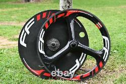Very Good Condition FFWD Rear Disc And Front 3 Spoke Tubular Carbon Wheel Set