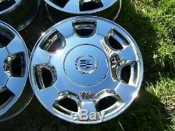 00-02 Cadillac Deville Oem 16 X 7 Jeu De 4 Jantes Chromé À 7 Rayons 9593256