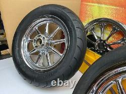 00-08 Harley Touring 16x3 Factory 9 Spoke Front & Rear Wheels Rim Mich Pneus