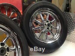 00-08 Oem Harley Touring 16 Avant / Arrière Chrome 9 A Parlé Wagon Wheels Jantes Pneus