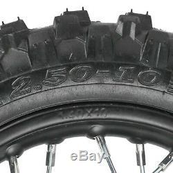 10 Avant + Arrière Rim Moyeu De Roue Spoke 2,50 X 10 Pneus Honda Xr50 Crf50 Tambour-nous