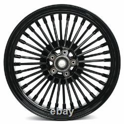 16x3.5 Bloss Black Fat Spoke Roues Set Pour Harley Softail Fatboy Deluxe 08-17