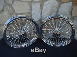 16x3.5 Dna Fatty Mammoth 40 Rayons Set De Roues Avant Et Arrière Harley Softail Heritag