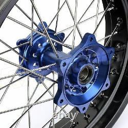 17 Supermoto Spoked De Jante De Roue Bleu Hub Set Rotors Yamaha Yz250f Yz450f 2014-19