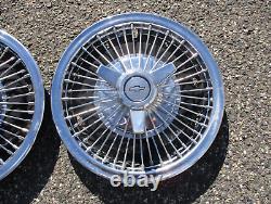 1965 1966 Chevy Chevelle Corvair 14 Pouces Fil Parlé Spinner Hubcaps Couvertures De Roue