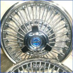 1965 1966 Mustang Oem 48 Spoke 14 Wire Hubcaps Withnouveau Blue Spinners (ensemble De 4)