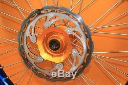 2003-2008 Yz450f Yz250f Warp 9 Bleu / Orange Jeu De Roues Rim Moyeu Arrière Avant Spokes