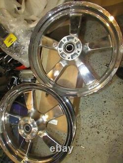 2008-2021 Harley Sportster Xl1200c 5 Rayons Chrome Rims 16 X 3 Avant Et Arrière (nto)