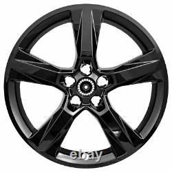 20 5 Skins De Roue Noire Brillante De Brillant Pour 2016-2018 Chevy Camaro Ls / Lt / Ss