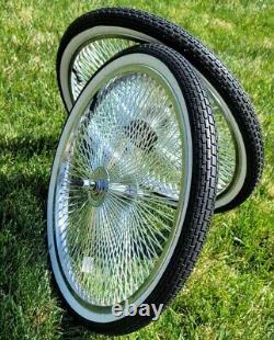20 Lowrider Bicycle Chrome Wheels & White Walls 140 Spoke Front & Rear