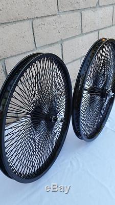 20 Lowrider Bicycle Dayton Noir Jantes 140 Rayons Ensemble Avant Et Arrière 20x2.125