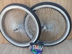 20 Lowrider Bicycle Dayton - Roues En Chrome Et Parois Blanches - 140 Rayons À L'avant Et À L'arrière