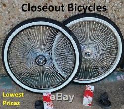 20 Lowrider Vélo Roues Chrome Lowrider / Murs Blancs 144 Rayons Avant Et Arrière