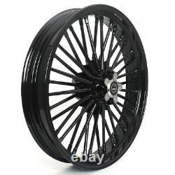 21 18 Black Fat Spoke Wheels Set Single Disc Pour Harley Sportster Softail Dyna