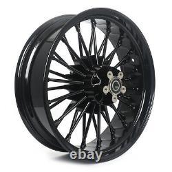 21 18'' Fat Spoke Front Rear Cast Wheels Single Disc Pour Dyna Softail Touring