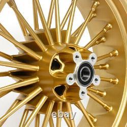 21 18 Gold Fat Spoke Front Rear Cast Wheels Single Disc Softail Dyna Touring