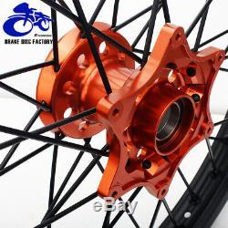 21/19 MX Dirt Spoked Ensemble De Jante De Roue Hub Ktm Exc Sx XC 250 350 Sxf 125 450 525 530