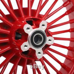 21 '' Et 16 '' Red 36 Fat Spoke Set Avant Roue Arrière Pour Harley Fxst Softail Fxdwg