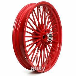 21 Front 18 Rear Red Cast Wheels Single Disc 36 Fat King Spoke Pour Harley Dyna