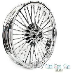 21x3.5 18x3.5 Chrome Fat Spoke Tubeless Cast Wheels Rim Set For Dyna Softail