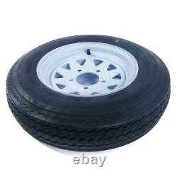 2 Pneus De Remorque Neuves - Jantes 5.30-12 530-12 5 Hole Wheel White Spoke