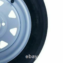 2x 5.30 X 12 5.30-12 Pneus Et Jantes De Remorque Sans Tube 4 Lug Wheel White Spoke 4ply