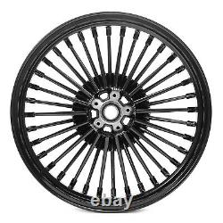 3.5x21/18 Traction Arrière Avant Set Fat Spoke For Harley Softail Touring Dyna Black