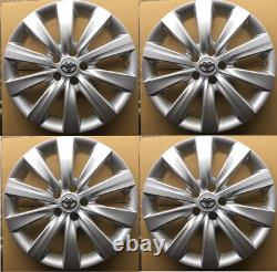 4x Hub Caps Fits 09-18 Toyota Corolla 16 Wheel Covers Full Set Of 4 Argent