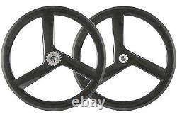 700c 56mm 3 Spoke Wheels Track Bike Wheelset Tri Spoke Wheelset Roue À Vitesse Fixe