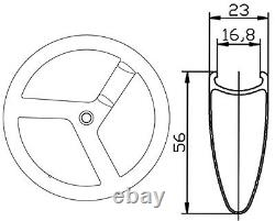 700c 56mm Track Bike Carbon Tri Spoke Wheelset 3 Portes Carbon Wheels Road Bike
