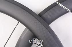 700c 56mm Tri Spoke Carbon Wheelset Piste Cyclable Clincher Fixed Gear Wheels (f & R)