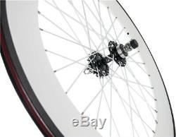 700c Avant Tri Spoke Arrière Carbone Wheelset Piste Cyclable Carbon Roues Clincher