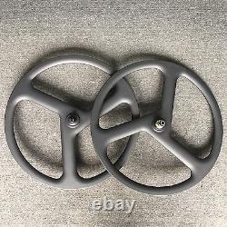 700c Clincher Carbon Wheel 3 Tri Spoke Disc Brake Road Bike Wheel XD Cassette
