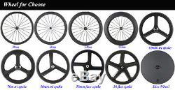 700c Plein Carbone Roues Vélo De Route De 70mm 3 Rayons Tri Fibre De Carbone Wheelset