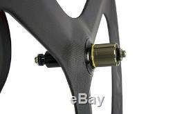 700c Tri Spoke En Fibre De Carbone Wheelset Route / Piste Cyclable Carbon Roues