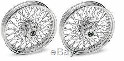 Adn Chrome 80 Spoke Wheels Harley 16x3.5 Avant Et Arrière Touring Ou Softail