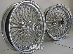 Adn Chrome Mammouth 52 Fat Spoke Wheels 18x3.5 Avant / Arriere Set Softail Fl Harley
