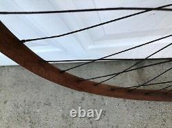 Antique 1890's Pneumatic Safety Bicycle Avant / Arrière 36 Spoke 28 Ensemble De Roues En Bois