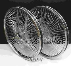 Beach Cruiser Lowrider 20 140 Rayons Arrière & Front Bicycle Wheelset Chrome