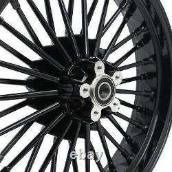 Black 36 Fat Spoke 21 18 Roues Tubeless Rim Pour Harley Softail Dyna Sportster