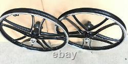 Bmx 20 X 32mm En Alliage Avant Et Arrière Freewheel Roue 10 Rayons Chrome / Noir H14