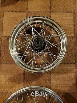 Chrome Rayon Harley Davidson 21 Pouces Avant Fxst Fxdwg 16 Paire Réglé Roue Arrière D'oem