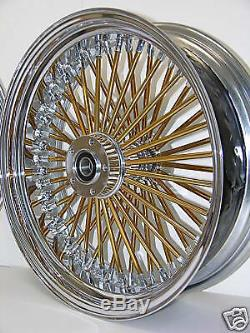 Dna Mammoth Fat 52 Gold Spoke - Roues 18x3.5 Touring Avant Et Arrière Softail Harley